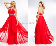 Robe De Soiree 2015 A-Line Sexy Off The Shoulder Crystal Beaded Red Chiffon Women Long Party Gowns Prom Dresses Vestidos Longo