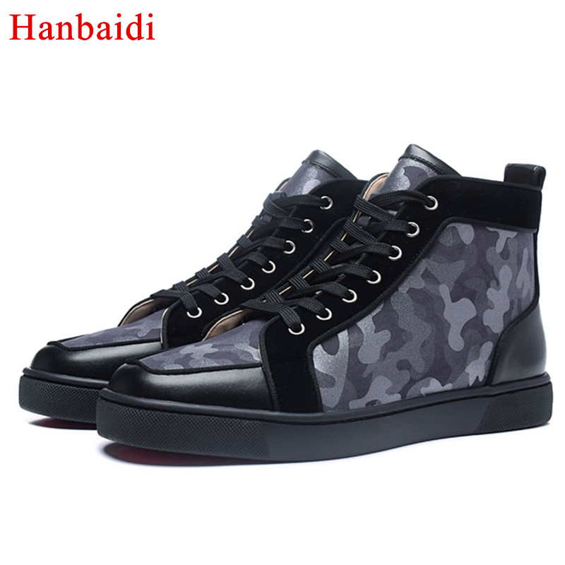 Hanbaidi New Casual Shoe Man High Top Thick Bottom Studded Black Heelpiece Luxury Brand Man Flats Good Zapatos Hombre Shoes Men marmot midweight bottom cocona man black