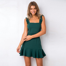 83255b3c989 Sexy Dos Nu Hippie Robe D été Femmes Vert Courte À Volants Robe  Portefeuille Spaghettie Strap Parti Dames Robes Robes Robe Femme