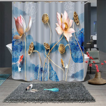 3d Lotus Leaf Blue and White Porcelain Style Shower Curtains Bathroom Curtain Thicken Waterproof Thickened Bath Curtain(China)