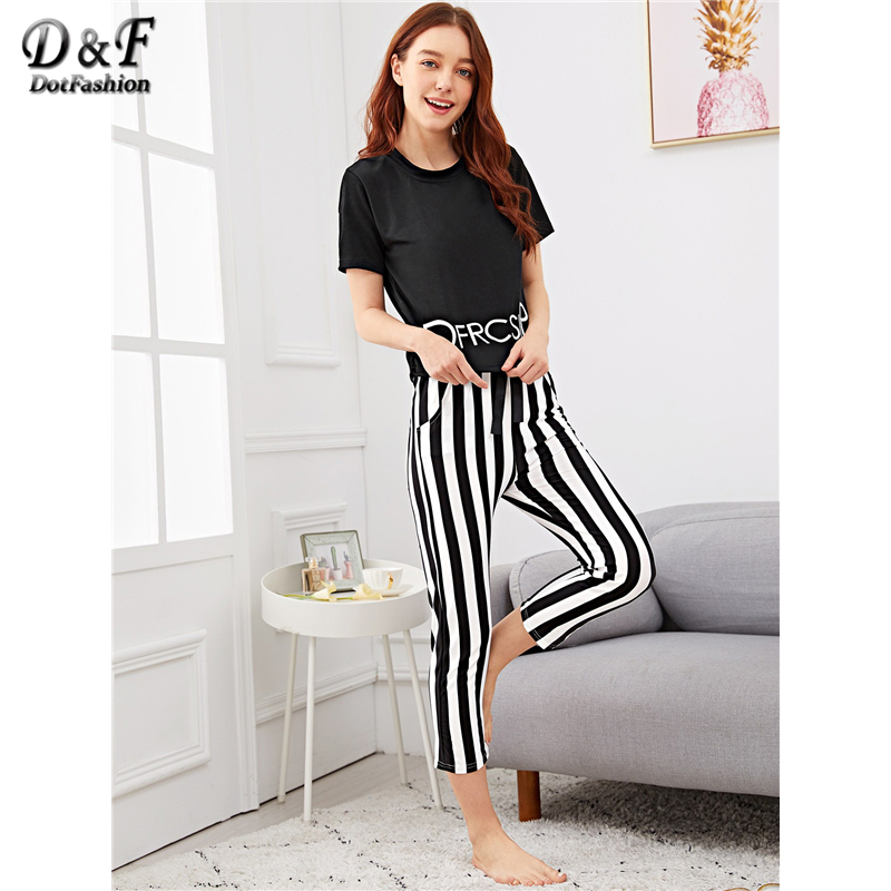 Dotfashion Black Knot Letter Print Top With Striped Pants PJ   Set   Women Autumn Clothing 2019 Casual Nightwear Summer   Pajama     Sets