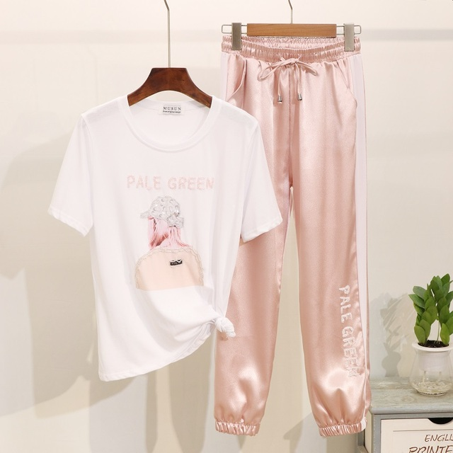Summer T shirt Women Clothes 2019 Fashion Beading Sequin Cotton Graphic Tees Women Tops Casual Ladies Tracksuits Two Piece Set