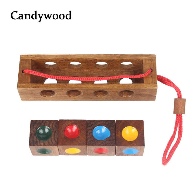 Kids Wooden Toys Unlock Color Clever Puzzle Classical Funny Color Matching Lock Intellectual Educational Toy For Children Adult intellectual shape match puzzle column toy for kids