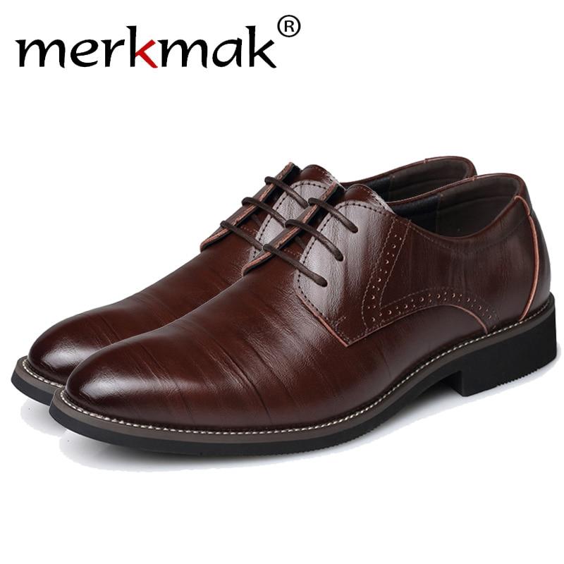 גודל גדול 37-48 נעלי אוקספורד Merkmak מחודדת מזדמן אופנה נעלי גברים עור למעלה זכר עסקי רשמי שמלת כלה דירות Wholesales