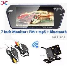 Оптовая HD 7 Дюймов TFT ЖК-Экран 1024*600 Автомобиль Зеркало Монитор Bluetooth MP5 FM USB/SD Слот Заднего Вида автомобиля Камера Заднего Вида