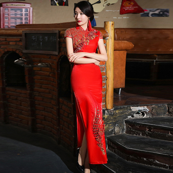 Red bride formal dress Chinese style vintage evening dress married cheongsam female costume Chinese traditional wedding dress