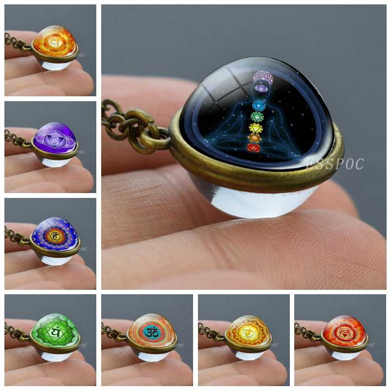 7 Chakra Meditation Jewelry Yoga Om Symbol Double Sided Glass Ball Necklace Chakra Indian Jewelry Sphere Ball Unisex Accessories