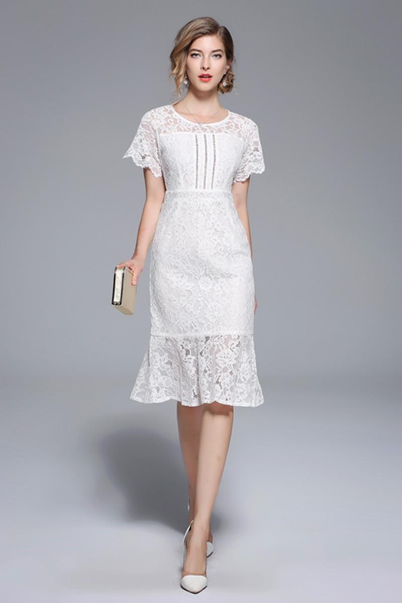 Nouvelles Robe Slim Dentelle À Taille Dans Queue Femmes Blanc Courtes 6871 Évider Récupérer Longue Robes Soluble Manches CxBedo