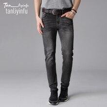Tanliyinfu2017 весной и летом новый высококачественный хлопок 98% 2% спандекс, мода Тонкий Прямые джинсы мужчин(China (Mainland))