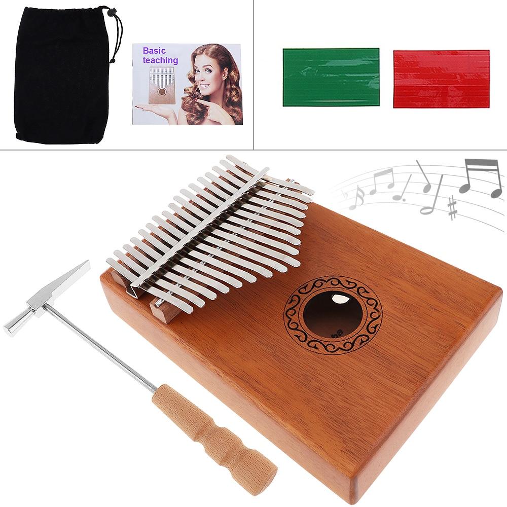 17 Key Kalimba Single Board Mahogany Thumb Piano Mbira