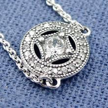 Auténtica Plata de Ley 925 Collar de Encanto Collar Con Collar Colgante De Cristal Para Las Mujeres compatible con Pandora HkW4328
