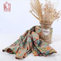 LZJN Women Ethnic Shawl Ladies Pashmina Long Scarves Versatile Wrap Floral Cotton Linen Maxi Scarves 65x264cm