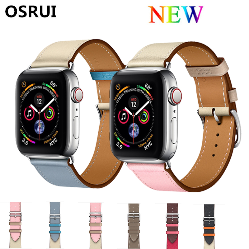 Single Tour Leather Strap For Apple Watch Band 4 44mm 40mm Bracelet Watchband Iwatch Series 3/2/1 Correa 42mm 38mm Wrist Belt