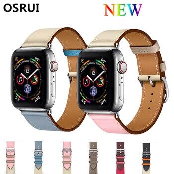 цена на Single tour Leather strap for Apple watch band 4 44mm 40mm bracelet watchband Iwatch series 3/2/1 correa 42mm 38mm wrist belt