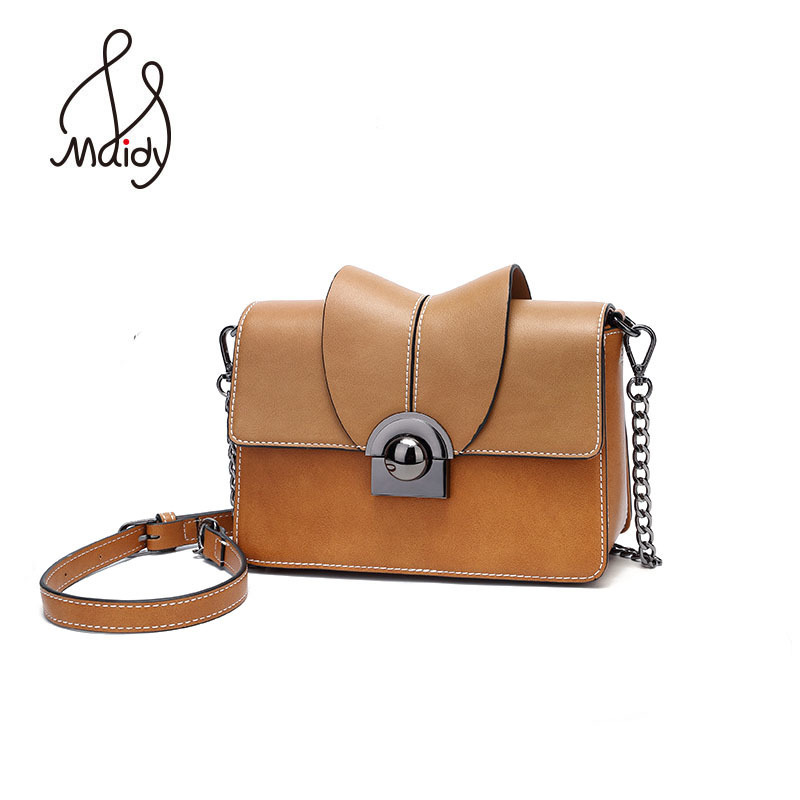 Maidy Fashion Small Women Split Leather Flap Messenger Bags Shoulder Crossbody Handbag Quilted Hasp Lock With Chain Print Brand