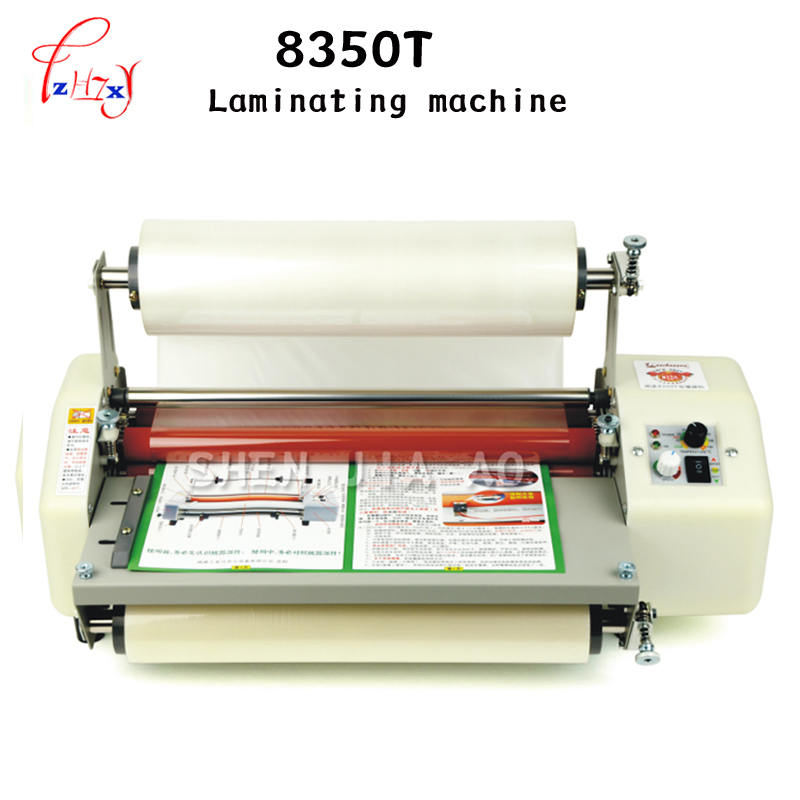 8350T A3 Four Rollers Laminator Hot roll laminator, High end speed regulation laminating machine thermal laminator a3 110V 1PC