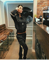 Спортивные костюмы Ограниченная серия полиэстер Полный 2018 Весна Новый Модный женский вязаный костюм на молнии хит цвет свитер ноги брюки и