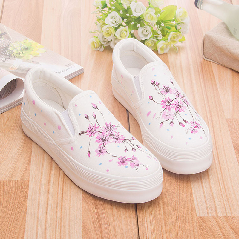 super popular 30c23 34e1f Sweet Floral Flat Shoes Ladies Autumn 2019 Hand Painted Canvas Shoes Women  Espadrilles White Sneakers Ladies Loafers Footwear