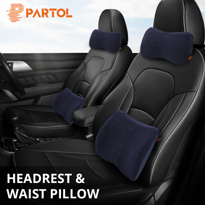 Partol Car Support Headrest Pillow Neck Waist Lumbar Back Cushion Car Styling Seat Pillow Lumbar Support Auto office Home Travel loen 1set of leather memory foam car seat support cover lumbar back cushion office chair lumbar support headrest neck pillow