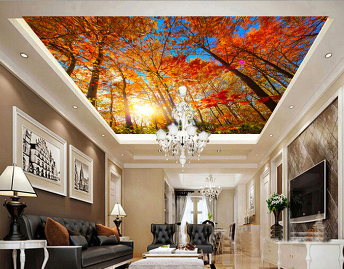 Custom 3D murals,Autumn maple tree suspended ceiling decorative murals ,living room sofa TV wall bedroom background wall paper beibehang custom wall paper 3d white european carved blue sky white clouds ceiling ceiling murals background