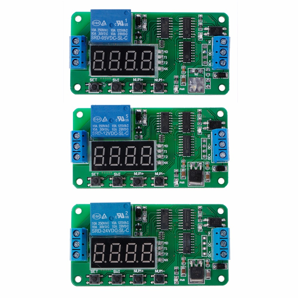 DC 5/12/24V Multifunction Delay Relay Timer Relay Switch Turn on/off PLC Module 1pc multifunction self lock relay dc 5v plc cycle timer module delay time relay
