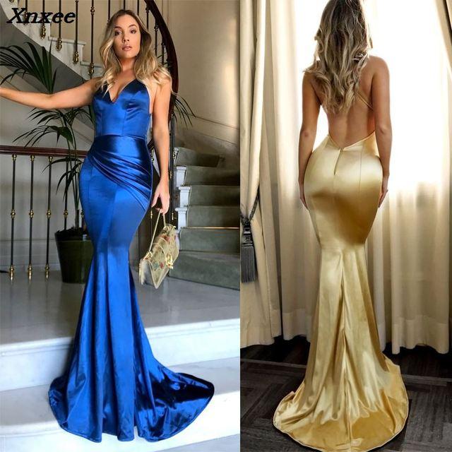 Xnxee 2018 Summer Dress High Waist Mermaid Party Maxi Dress Women Solid Sexy V-neck Backless Evening Party Clubwear Long Dresses