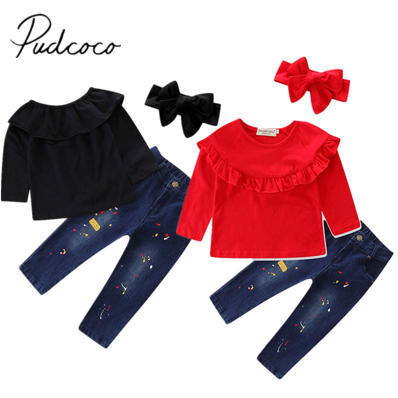 2017 Brand New Toddler Infant Kids Baby Girl Solid T-Shirt Tops Denim Jeans Pants 3Pcs Sets Fashion Clothes Autumn Outfit 2-7T new style brand jeans for men jeans straigh regular fit denim jeans pants classic blue colour size 28 to 38