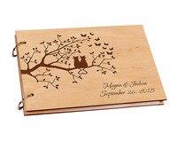 אישית חתונת ספר אורחים לחתימה DIY עץ כפרי עץ מותאם אישית DIY אלבום תמונות באלבום של נייר A4 גיליון עבור תינוק