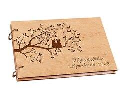 شخصية خشبية لتقوم بها بنفسك كتاب ضيف الزفاف للتوقيع خشب مصنوع حسب الطلب ريفي A4 ورقة لتقوم بها بنفسك ألبوم صور سجل القصاصات ورقة للطفل