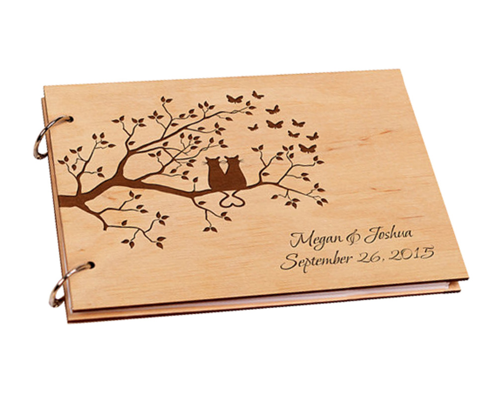 personalized wooden wedding guestbook engagement guest book for signature custom wood rustic. Black Bedroom Furniture Sets. Home Design Ideas