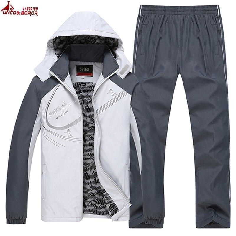 MAL et BOROR taille L ~ 5XL 6XL hiver veste hommes sportsuit sportwear hommes survêtement Sweat capuche hommes ensemble parka manteau marque vêtements