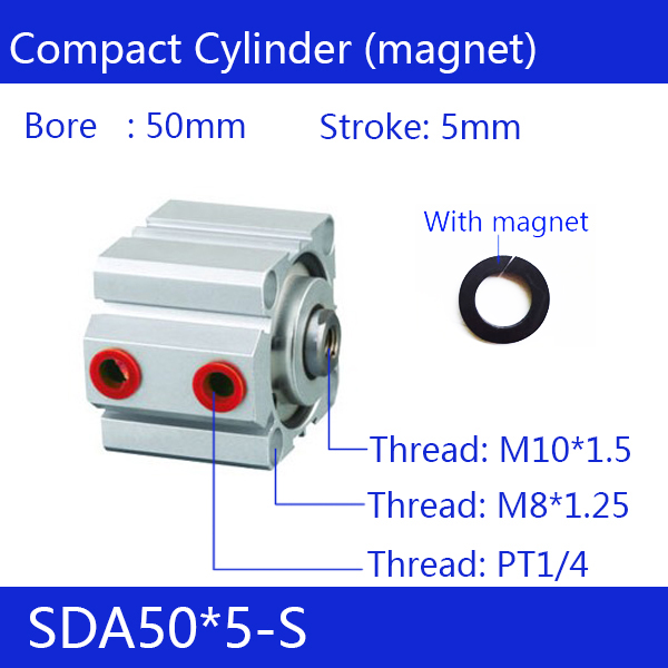SDA50*5-S, 50mm Bore 5mm Stroke Compact Air Cylinders SDA50X5-S Dual Action Air Pneumatic CylinderSDA50*5-S, 50mm Bore 5mm Stroke Compact Air Cylinders SDA50X5-S Dual Action Air Pneumatic Cylinder