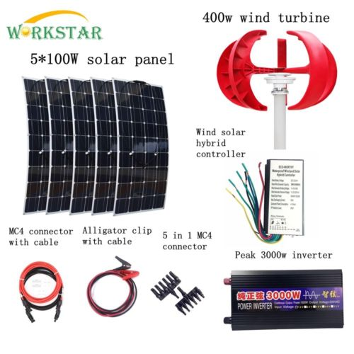 Off Grid Complete 900W Wind Solar Hybrid System 400W Wind Generator 5*100W Solar Panel 3KW Inverter and installation Accessorie 6pcs 100w flexible solar modules 400w vertical wind generator with 4000w inverter and controllers 1000w wind solar power system