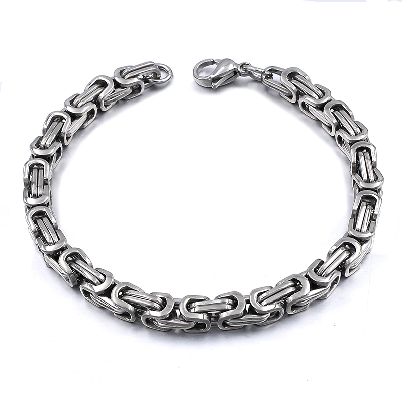 Silver Colour Stainless Steel bracelets Link Byzantine Chain Bracelet For MEN 8