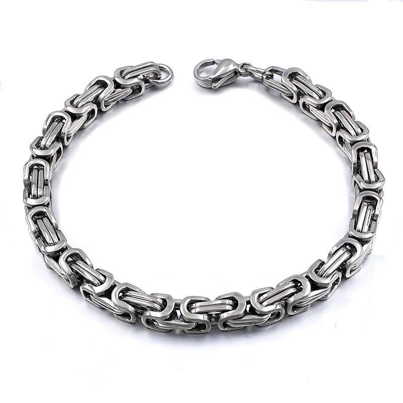 Silver Colour Stainless Steel bracelets Link Byzantine Chain Bracelet For MEN 8