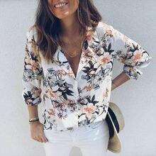 цены на Fashion Womens Boho Floral Chiffon Blouse Ladies Plain V Neck Loose Long Sleeve Tops Casual Soft Tops  в интернет-магазинах