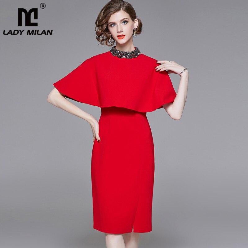 Dame Milan Neue Ankunft 2019 frauen O Neck Perlen Ärmel Abnehmbare Cape Mode Designer Runway Kleider-in Kleider aus Damenbekleidung bei  Gruppe 1