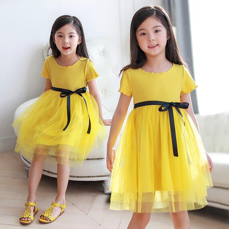 2018 New Summer Bow Dress Kids Baby Girls Short Sleeve Tutu Dress Children Clothing Casual Kids Clothes 5 6 7 8 9 10 11 12 13 14