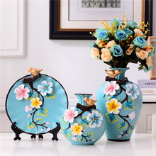 3pcs/set Modern ceramics Vase Handmade High quality vases dried flowers containers  living room entrance home decoration
