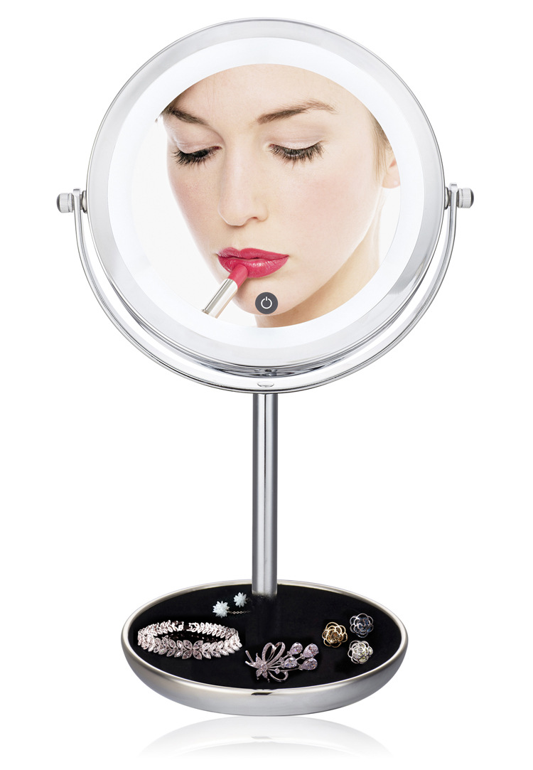 7inch LED 2-Face metal Round Shape 360 degree Rotating Cosmetic Mirror, desktop makeup 5X Magnifier Mirror with storage box 8 inch fashion high definition desktop makeup mirror 2 face metal bathroom mirror magnifying 360 degree rotating mirror