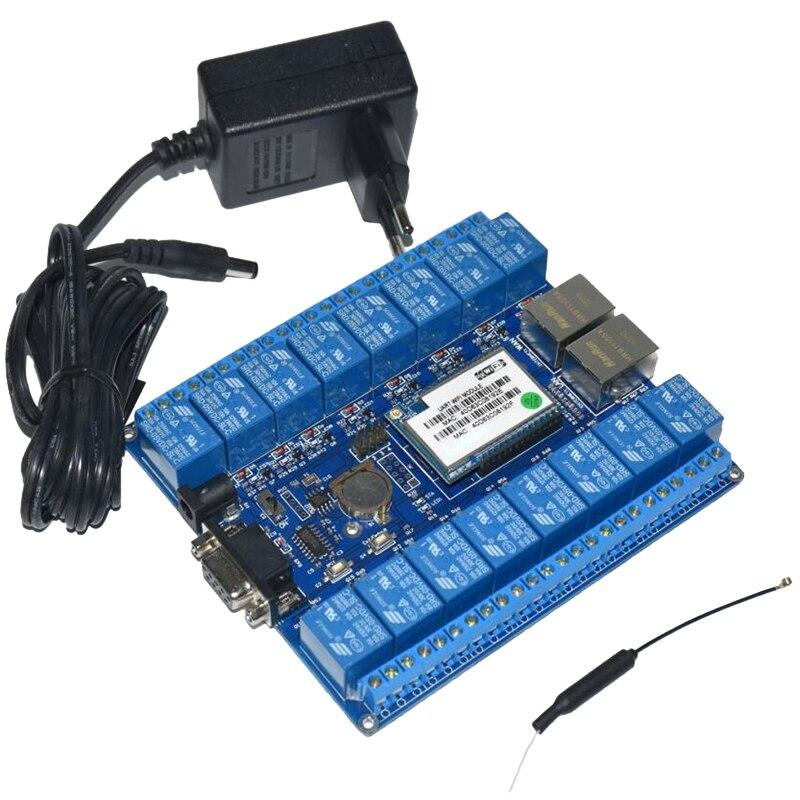 Domotique intelligente choses d'internet Rs232 Rj45 Port Wifi Module de relais carte 16 canaux relais P2P Wifi antenne (prise Eu)