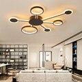 Новый дизайн коричневая светодиодная люстра светильники затемняющие люстры для спальни с дистанционным управлением лампы люстры lamparas de ...