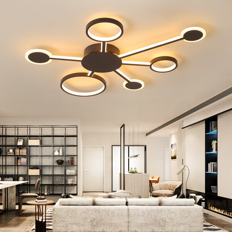 New Design Brown LED Chandelier Lighting Fixtures Dimming Chandeliers For Bedroom With Remote Lamp LustreS lamparas de techo|Chandeliers| |  - title=