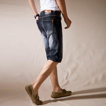 jantour Brand Mens Summer Stretch Thin high quality Denim Jeans male Short Men blue black Jeans Shorts Pants Plus Size 38 40 42