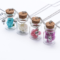 Glow In The Dark Rose Pendant Bronze Chain Necklace Long Flower Glass Necklace And WISH Flower