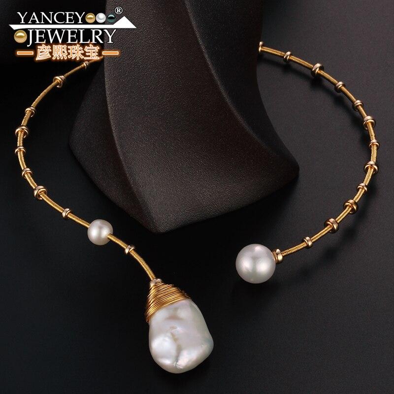 Nouveau populaire éléments D'origine design Naturel Baroque collier de perles pour les femmes et fille bijoux G9k or, haut de gamme de luxe