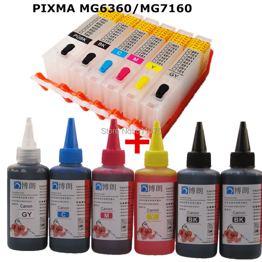 6 INK For CANON pixma PIXMA MG6360 MG7160  printer PGI 650 CLI 651refillable ink cartridge+ 6 Color Dye Ink 100ml 5pcs compatible ink cartridge for canon pgi425 cli426 pixma ip4840 ip4940 ix6540 mg5140 mg5240 mg5340 mx714 mx884 mx894 printer