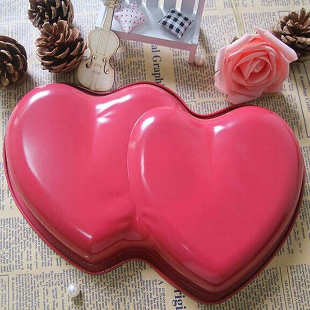Us 15 62 Wedding Cakes Design Double Heart Shaped Aluminum Bakeware Valentine S Day Cake Decorating Aluminum Mould Cake Pan Free Shipping In Cake