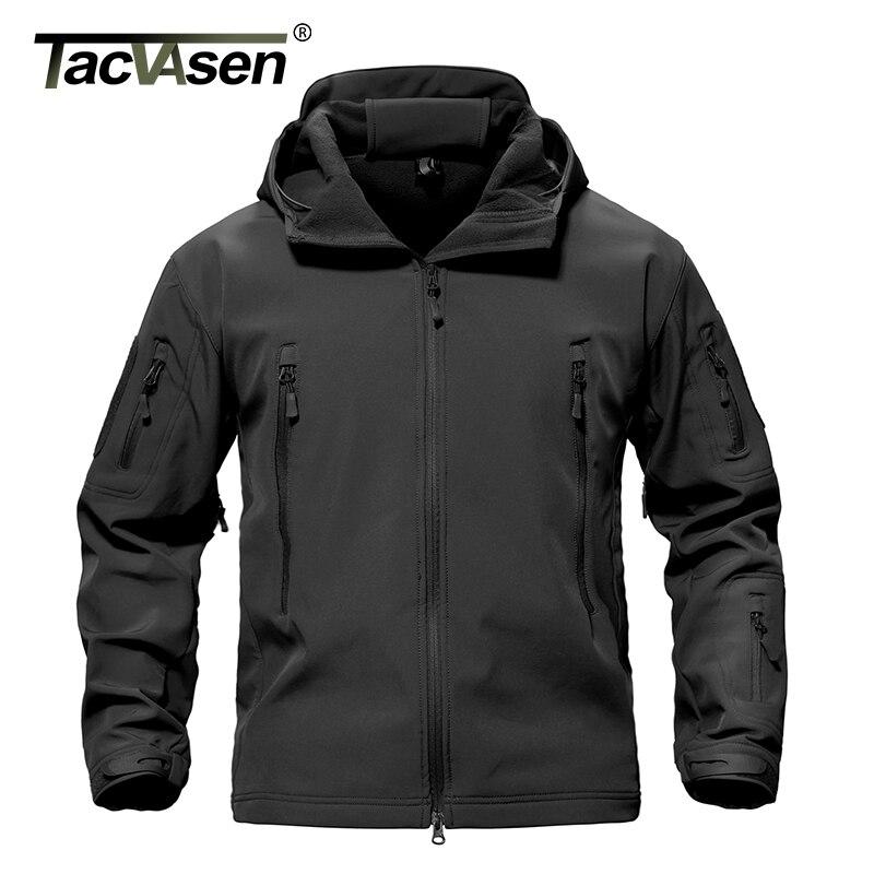 TACVASEN Army Camouflage Men Jacket Coat Military Tactical Jacket Winter Waterproof Soft Shell Jackets Windbreaker Hunt Clothes