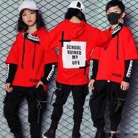 Girls Boys Loose Ballroom Jazz Hip Hop Dance Competition Costume Hoodie Sweatshirt Tops Pants For Kid